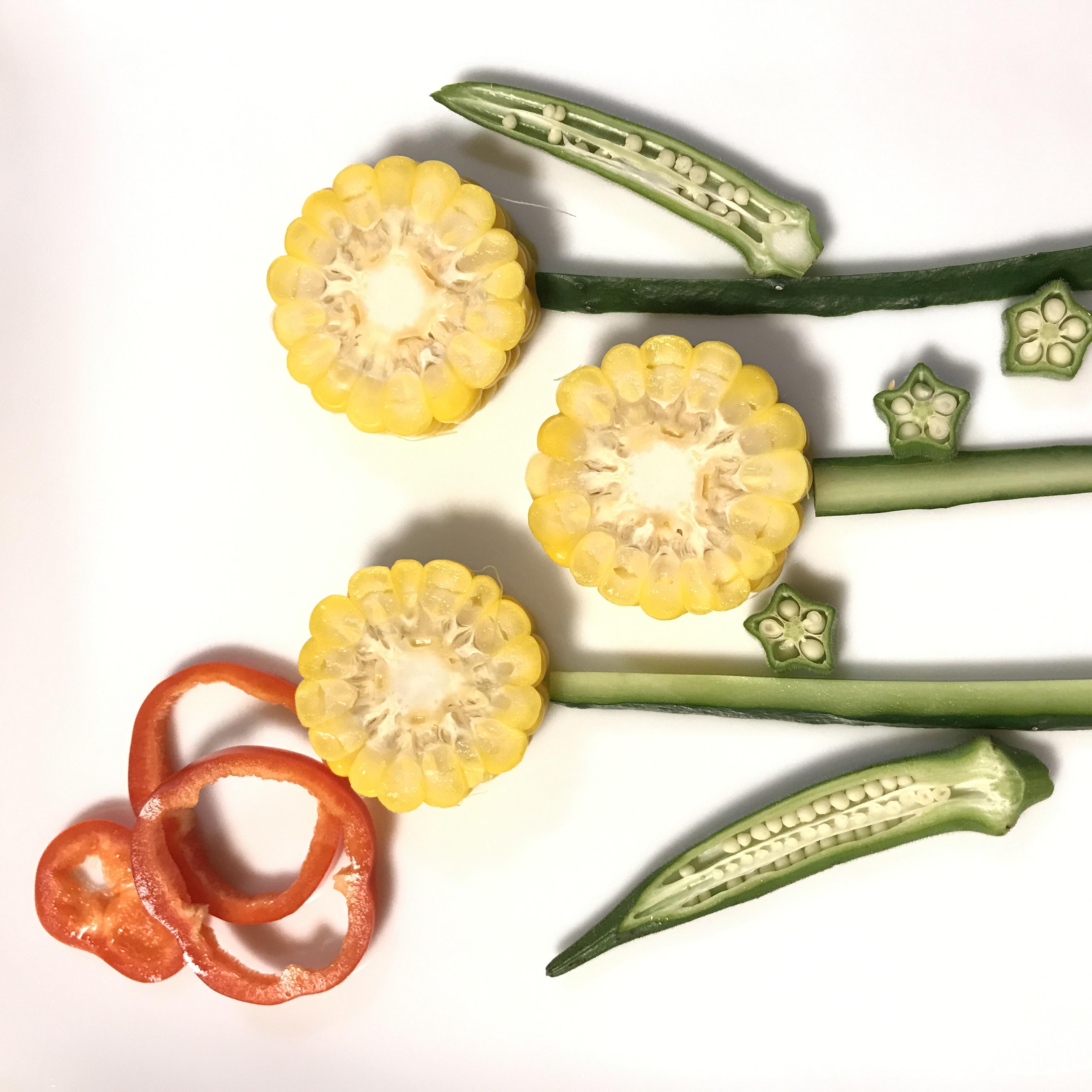 野菜の切り口ってかわいい♪野菜アートに挑戦!
